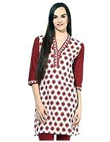 Jaipur Kurti's Pure Cotton 3/4 Sleeve White and Maroon Kurti