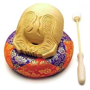 木魚 白木製(一式) 3寸(横巾9cm)◆最も一般的な白木の木魚、ふとん・籐柄バイ付き、仏壇用の仏具