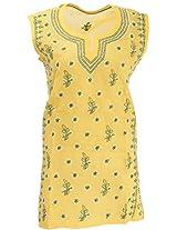 Lucknow Chikan Industry Women's Cotton Straight Kurta (LCI-398, Yellow, L)