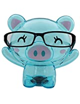 Bear Shape Eye Glasses Stand With Piggy Bank - Blue - Transparent Money Savings Kiddy Toy
