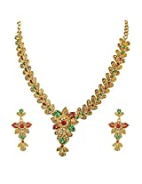 Surat Diamonds Floral Shaped Red, Green & Yellow Stone Traditional Necklace Earring Set for Women (PS258)