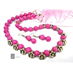 PINK AND FLORAL NECKLACE SET
