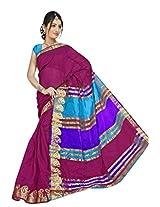 Vibes Cotton Patch Work Saree (S43-170 _Magenta)