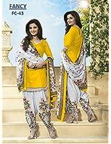 Shree Fashion Woman's Cotton With Dupatta [Shree (27) Yellow_Blue]
