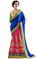 Manvaa blue and pink and green net embroidered casual saree