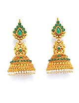 Alankruthi Royal Tradional Antique Golden Stone Studded Handmade Copper Plated Spinel Copper Jhumki Earring