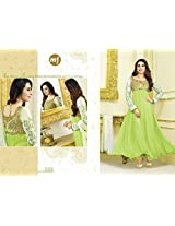 Vibes Women Georgette Salwar Suit Dress Material (V54-30008 _Green _Free Size)