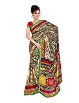 Madhavi Women Faux Georgette Lace Saree (Mvn134B _Yellow _Free Size)