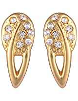 Estelle Spring Collection Gold Plated Alloy Metal Stud Earring with studded CZs on Top for Women (ESER493-719)