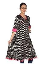 Rajrang Women's Printed Long Kurti (TOP05056_Black_X-Large)