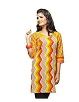 Karishma Suit - FREE Maybelline Colossal Kajal MRP 199 - s Yellow Printed Pure Cotton dobby Unstitched Kurti Fabric For Women | KDTKPG16
