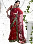Kalazone Red Net Georgette Embroidery Hand Work Saree