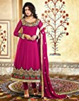 Pink Faux Georgette with Zari, Resham Embroidery Work Unstitched Anarkali Salwar Kameez Suit