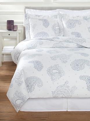 Belle Époque Paisley Sateen Mini Duvet Set (White/Blue)