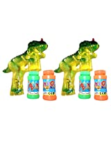Haktoys (2 Pack) 1900 D Dinosaur Bubble Shooter Gun With Led Lights And Dinosaur Sound, 3 X Aa Batteries, And Extra Bottle Refill