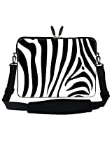 "Meffort Inc 15 15.6 Inch Zebra Stripe Design Laptop Sleeve Bag Carrying Case With Hidden Handle & Adjustable Shoulder Strap For 14"" 15"" 15.6"" Apple Macbook, Acer, Asus, Dell, Hp, Sony, Toshiba, And More"