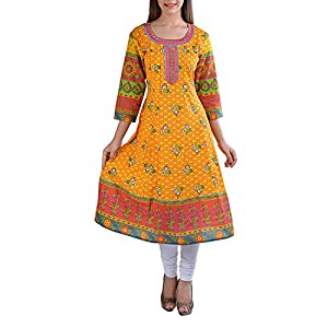 Prakhya Womens Cotton Multi-Colored 36 Kurta