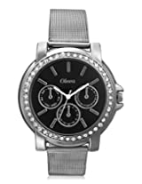 Oleva Ladies Watch with Stainless Steel Dial (OSW-6 BLACK)-Black dial