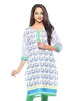 Purab Paschim women's Casual Printed ROYAL BLUE Kurti