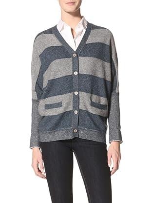 Kokun Women's Striped Double Knit Cardigan (Indigo/Grey)