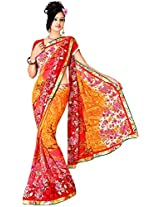 Shree Bahuchar Creation Women's Chiffon Saree(Skb41, Orange)