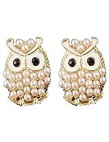 Glitz Fahsion Faux Pearl Charm Beads Stud Cute Owl Earrings for Women