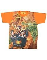 Tick Lish Boys Cotton Blend T-Shirt (Orange)