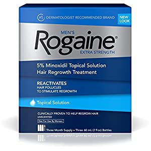 Rogaine for Men Hair Regrowth Treatment, Extra Strength Topical Solution (Pack of 3)