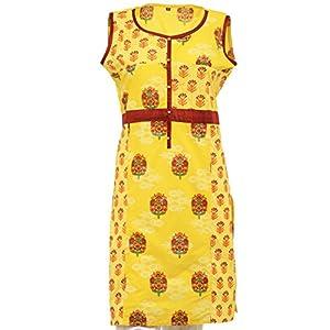 Olivia Women's Printed Yellow Kurta