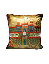 """The Bombay Store PolySilk Cushion Cover - Red Fort (Set of 1pc) L 16"""" H 16"""""""