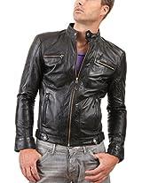 HugMe.fashion Men's Leather Jacket (JK66_Black_4XL, Black, 4XL)