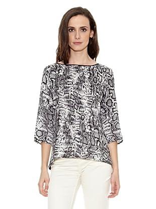 Cortefiel Camiseta Animal Print (Negro)