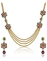 Party Wear Kundan Meenakari Gold Plated 4-Strings Long Necklace Set For Women by Shining Diva