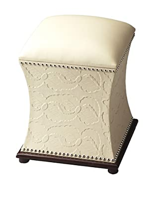 Butler Specialty Company Cream Leather Bunching Ottoman