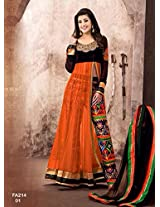 Atmiya fashion By The New Designer Attractive Orange And Black Anarkali Suit