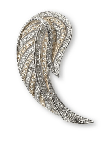 Lulu Frost 1920's Art Deco Feather Brooch, Silver/Gold