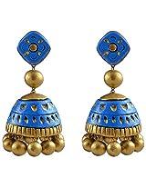 Avarna Terracotta Large Jhumki With Stud Earrings Sjc0002 For Women (Blue)