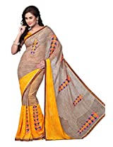 Dlines beige and Yellow Printed saree