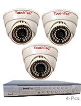 TouchTec 4 Channel D1 DVR + Dome IR Camera , 800 TVL 3.6 MM Lens with stand-4 Pcs