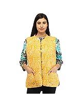 Feyona Yellow Cotton Printed Jacket For Women (Size: 40)