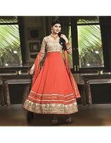 Orange Georgette Semi Stitched Anarkali Suit