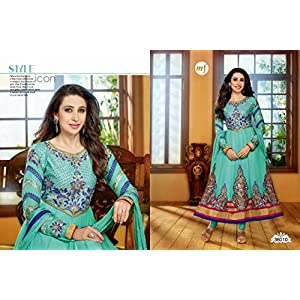 Karishma Kapoor Turquoise Georgette Anarkali Suit