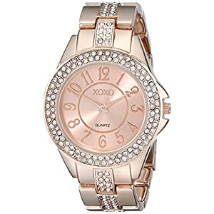 XOXO Women's XO5466 Rhinestone-Accented Rose Gold-Tone Bracelet Watch