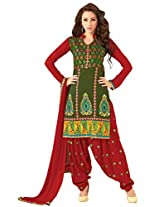 Anvi Creations Green Cotton Dress Material (Green_Free Size)