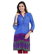 Frame Women's Rayon Cotton Kurti (15019_BLUE_M)