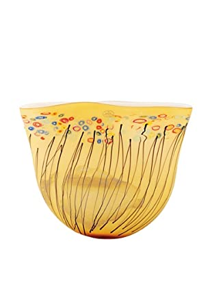 Meridian Glass Horizon Vase with Accents (Amber)