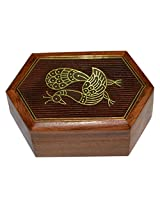 Handmade Jewellery Box Hexagon Shape Wood Carving with Peacock Brass Inlay Design