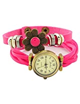 Geneva Designer Flower Collection PU Strap Analog Pink color Womens Watch