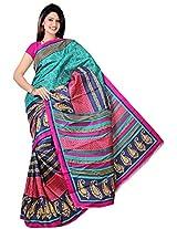 Bhagalpuri Silk Printed Green Bhagalpuri Silk Saree - SIXVP01C