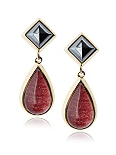 Kara Ross Watersnake Teardrop Clip-On Earrings, Ruby Red